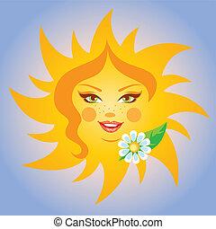 sorrindo, vetorial, ilustração, sol