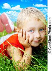 sorrizo, feliz, capim, cute, criança, primavera