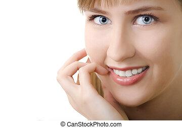 sorrizo, mulher, jovem, isolado