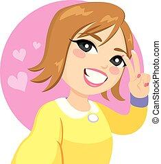 sorrizo, selfie, mulher, sinal vitória