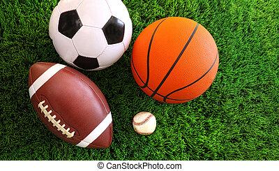 sortimento, capim, desporto, bolas