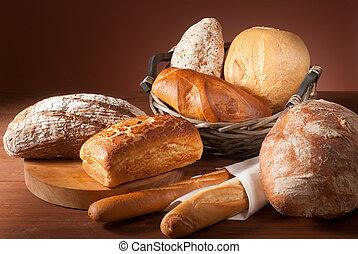 sortimento, pão assado