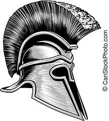 spartan, capacete, guerreira, trojan, grego, antiga