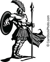 spartan, corporal, ilustração, escudo, vetorial, mascote, lança