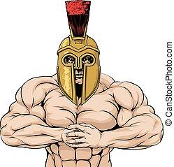spartan, forte, ou, trojan, mascote