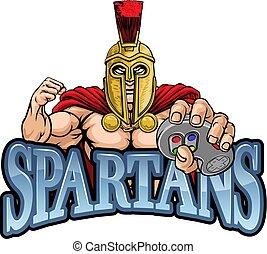 spartan, mascote, gamer, gladiador, controlador, trojan