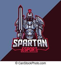 spartan, modelo, logotipo, mascote, esport