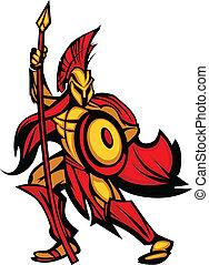 spartan, trojan, lança, mascote