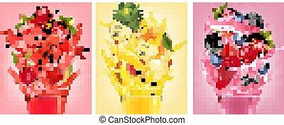 splashes., jogo, moranguinho, etiquetas, framboesa, fruta, goiaba, suco, pêssego, vector., blueberry., amora preta, abacaxi, melancia