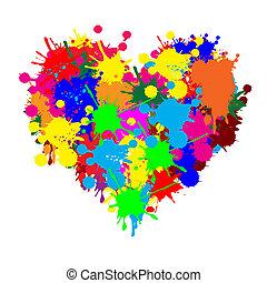 splatter, coração, pintura