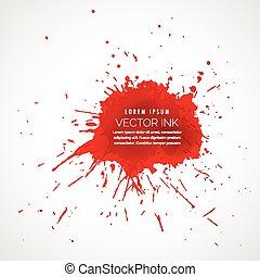 splatter, gota, efeito, vermelho, tinta