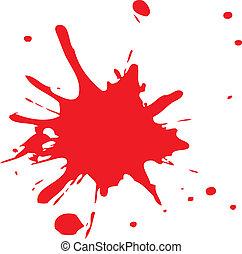 splatter, ou, sangue, vermelho, tinta