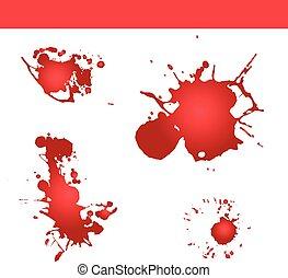splatter, respingo, sangue, vector., pintura