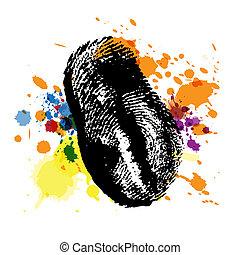 splatter, thumbprint, tinta
