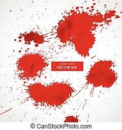 splatter, vetorial, jogo, sangue, vermelho