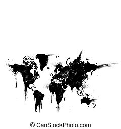 splatter, vetorial, tinta, ilustração, mundo