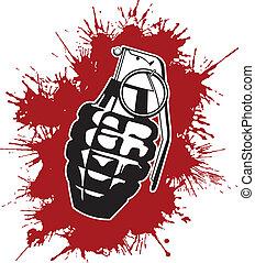 splattered, granada, sangue