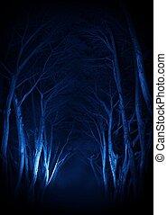 spooky, antigas, parque, árvores, ruela