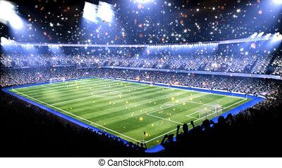 spotlight., luz, campo, esportes