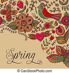 """""""spring"""", cartão, floral, saudação, aquarela, vetorial, lettering."""