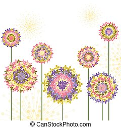 springtime, hydrangea, flor, coloridos, fundo