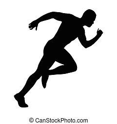 sprint, sprinting, corredor, começa, rapidamente, silhouette., vetorial, start., running., homem, run.