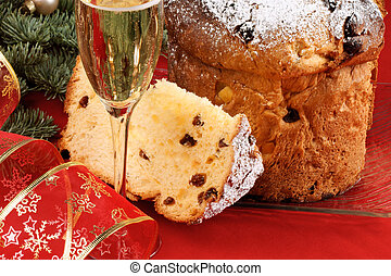 spumante, panettone, natal, italiano