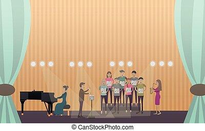 stage., executar, ilustração, coro, vetorial, pianista