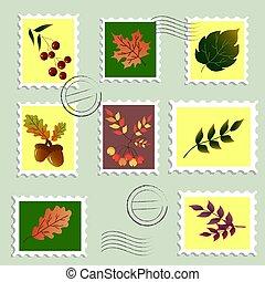 stamps., jogo, berries., folhas, outono, taxa postal, ilustração
