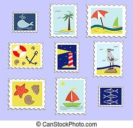 stamps., jogo, seagulls., âncora, mar, taxa postal, ilustração