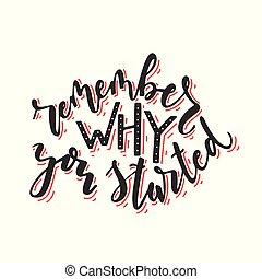 started., lembrar, modernos, isolado, mão, calligraphy., escova, fundo, tu, branca, lettering., porque, writtern