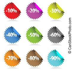 stickers., colorido, cobrança