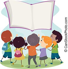 stickman, alcance, flutuador, crianças, saída, livro