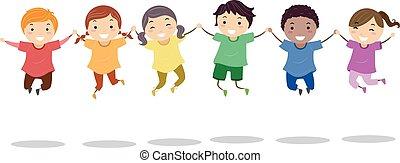 stickman, arco íris, camisas, salto, crianças