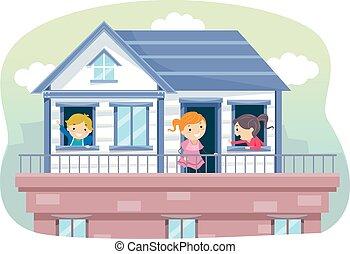 stickman, crianças, telhado, ilustração, casa