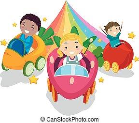 stickman, crianças, vegetal, ilustração, arco íris, passeio
