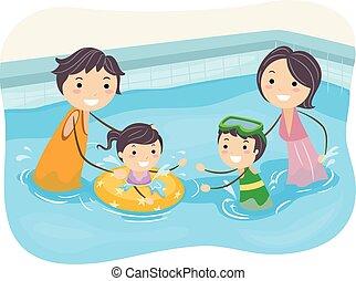 stickman, família, piscina, natação