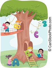 stickman, jogo, crianças, árvore