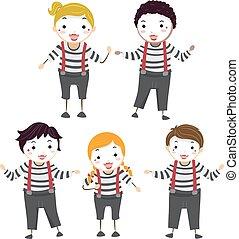 stickman, poses, mimo, ilustração, crianças