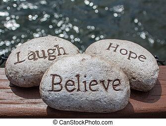 stones., esperança, acreditar, riso