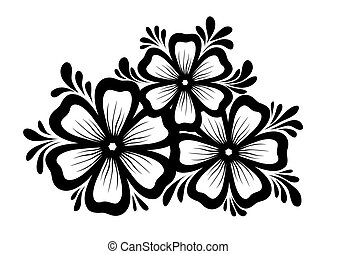 style., flores, folhas, retro, floral, preto-e-branco, desenho, element., bonito, elemento