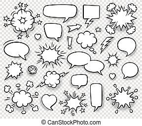 style., ilustração, shadows., desenhado, mão, fala, arte pnf, cobrança, caricatura, stickers., vetorial, vazio, retro, bolhas, cômico, halftone