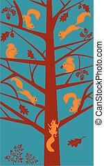 stylized, árvore carvalho, esquilos