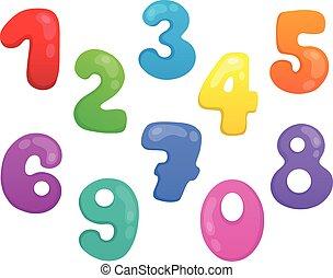 stylized, 1, tema, jogo, números