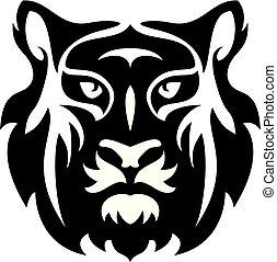stylized, apartamento, rosto, tiger, vetorial, ícone