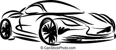 stylized, corrida carro, ilustração