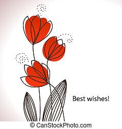 stylized, flores, cartão, vetorial