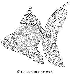 stylized, goldfish, zentangle