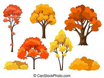 stylized, outono, abstratos, jogo, árvores.