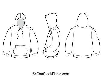 suéter, vetorial, hooded, illustration.